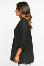 Macey Pleated Top in Black by Adrift