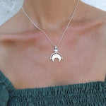 New Moon Silver Necklace by ToniMay