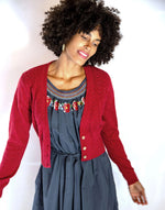 Verity Cardigan in Lovely Red *organic cotton by Lazybones