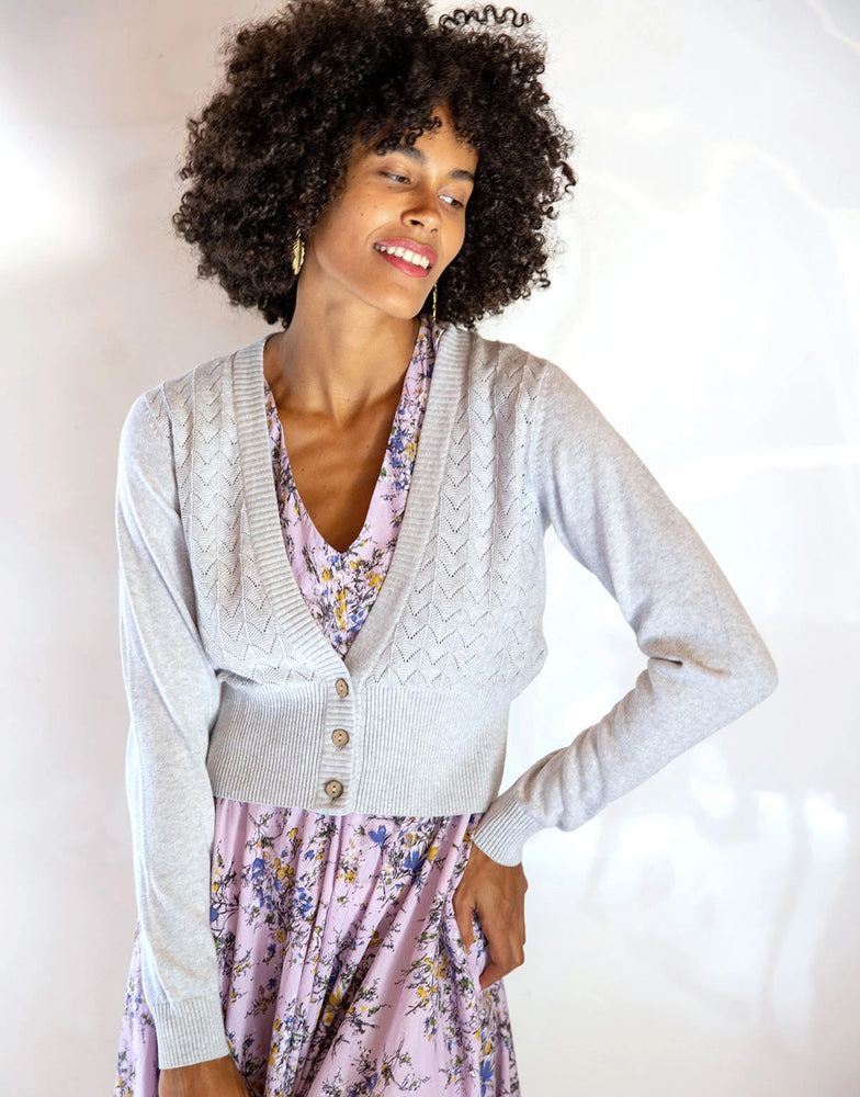 Verity Cardigan in Silver Marle *organic cotton by Lazybones