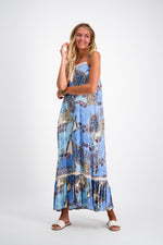 Nellie Maxi in Sapphire Blue Print by Naudic