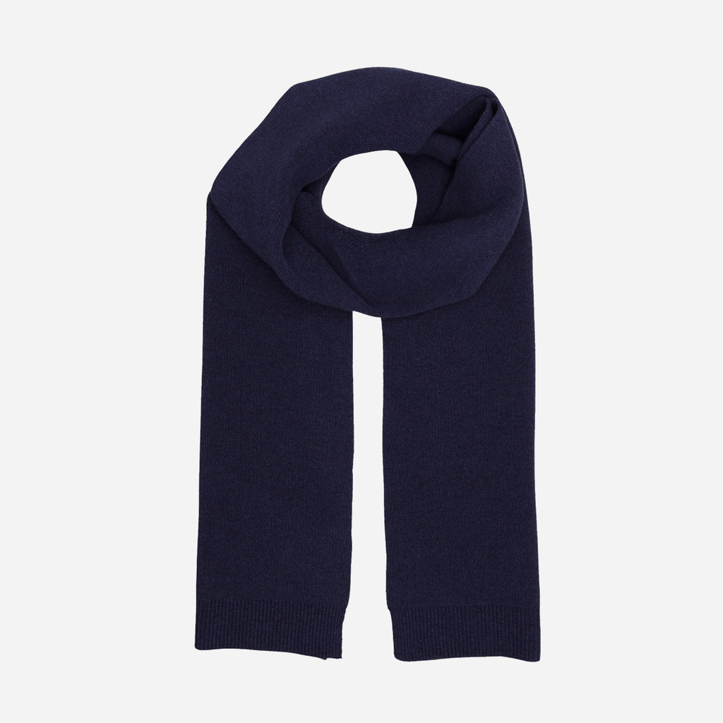 Merino Wool Scarf Navy Blue