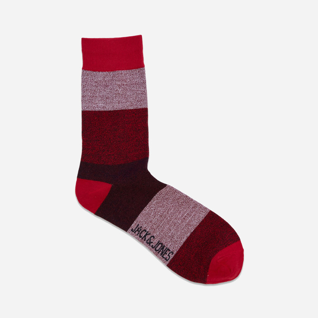 Twisted Block Sock Red