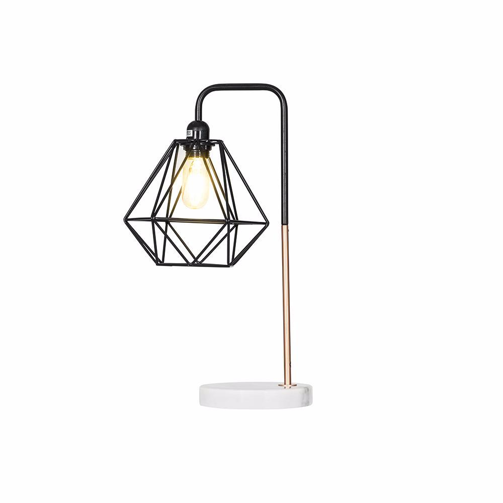 Marble Pipe Table Lamp Copper Black