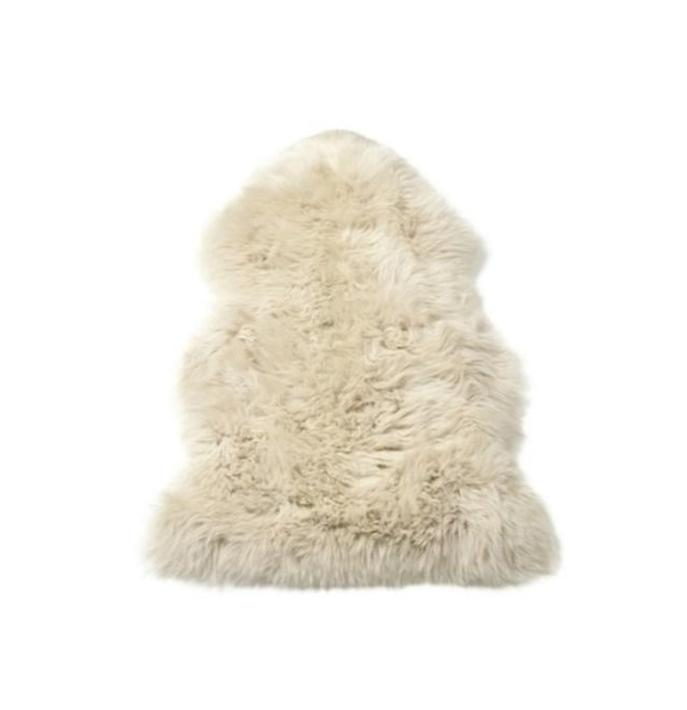 Sheepskin Throw Rug Oyster