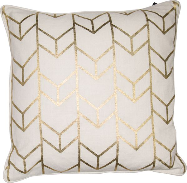 Gold Chevron Cushion Filled