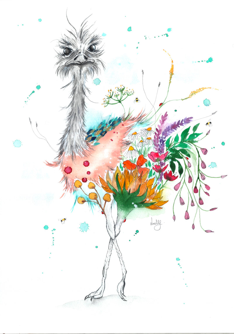 Watercolour Ostrich Print