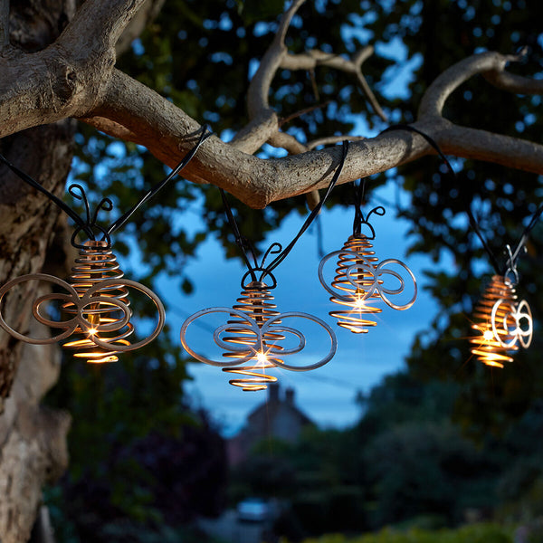 Solar Bumble Bee String Lights Gold