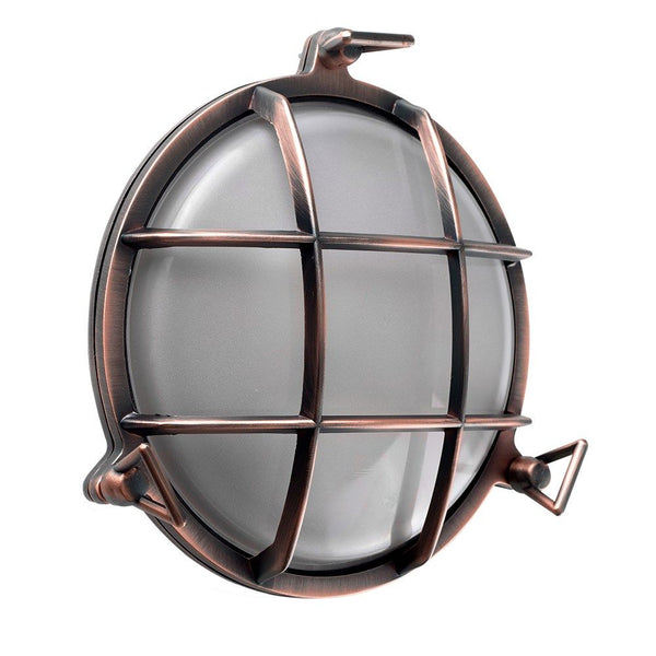 Round Copper Bulkhead Wall Light