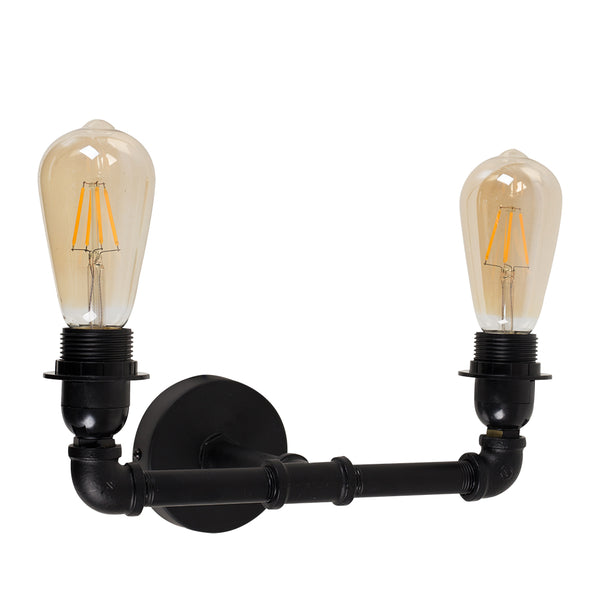Black Pipe Wall Light 2
