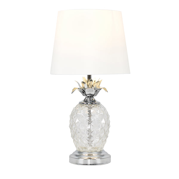 Glass Pineapple Touch Table Lamp White