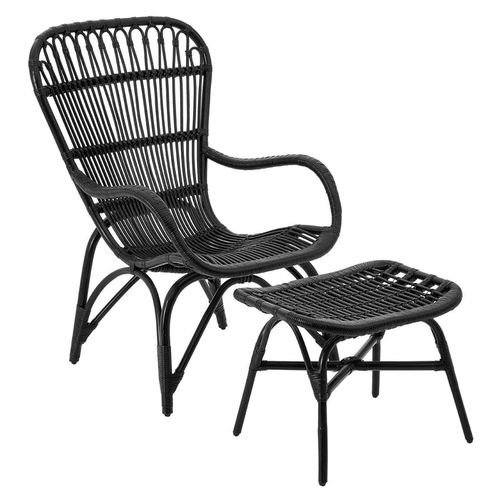 Havana Chair and Footstool Black