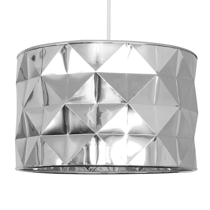 Geo Chrome Drum Shade