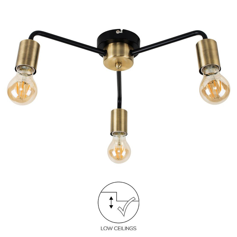 Brass Cuff 5/3 Way Ceiling Light