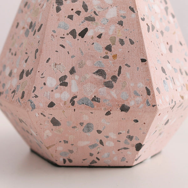 Blush Speckled Block Table Lamp