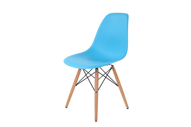 Eames Style Wooden Chair Sky Blue