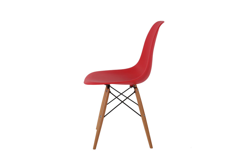 Eames Style Wooden Chair Red