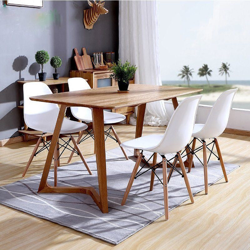 Set of 4 Eames Style Wood Chairs White