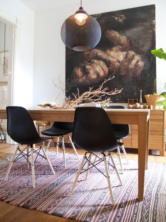 Set of 4 Eames Style Wood Chair Black