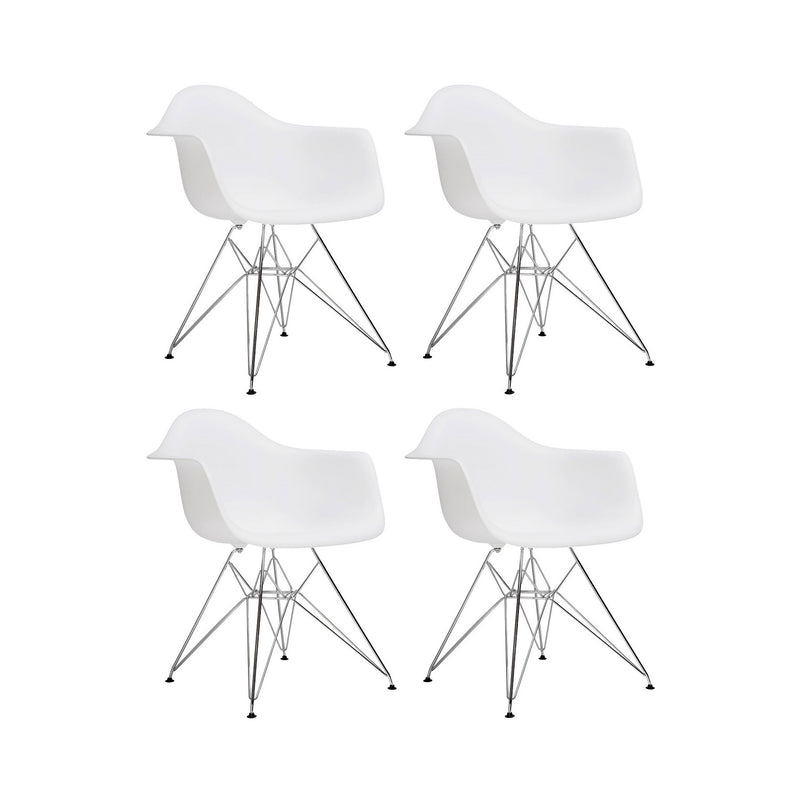 Set of 4 Eiffel Tub Chair Metal White