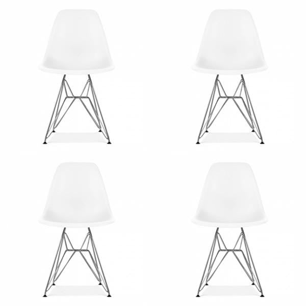 Set of 4 Eames Style Metal Chairs White