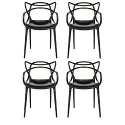 Set of 4 Masters Style Chairs Black
