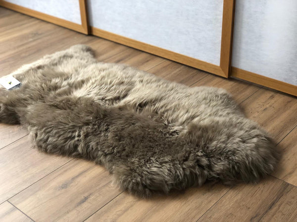 Sheepskin Throw Rug Taupe