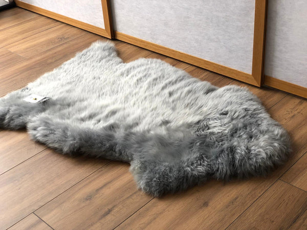 Sheepskin Throw Rug Light Grey