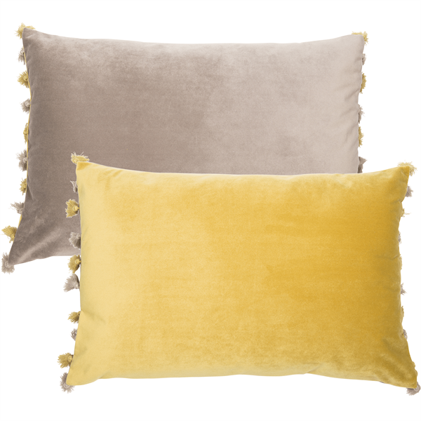 Mustard & Grey Tassel Velvet Cushion Filled