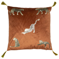 Samburu Leopard Cushion Filled Burnt Orange