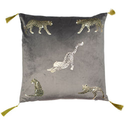 Samburu Leopard Cushion Filled Grey