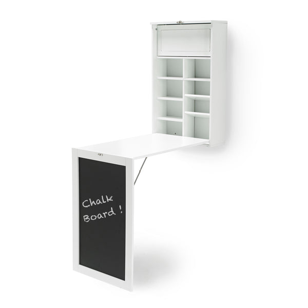 Foldaway Chalkboard Wall Storage Desk White