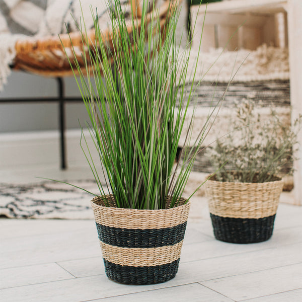 Seagrass Basket Two-Tone Striped