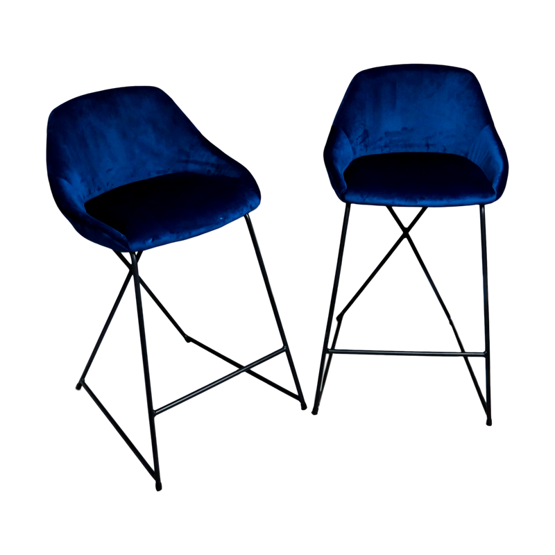 Set of 2 Willow Velvet Stools Navy