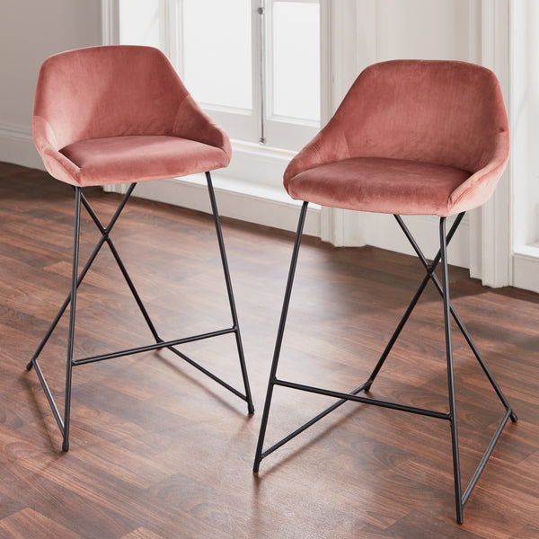 Set of 2 Willow Velvet Stools Rose