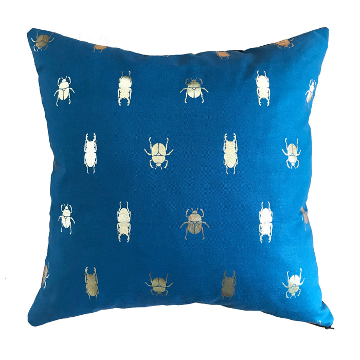 Handmade Metallic Beetle Cushion