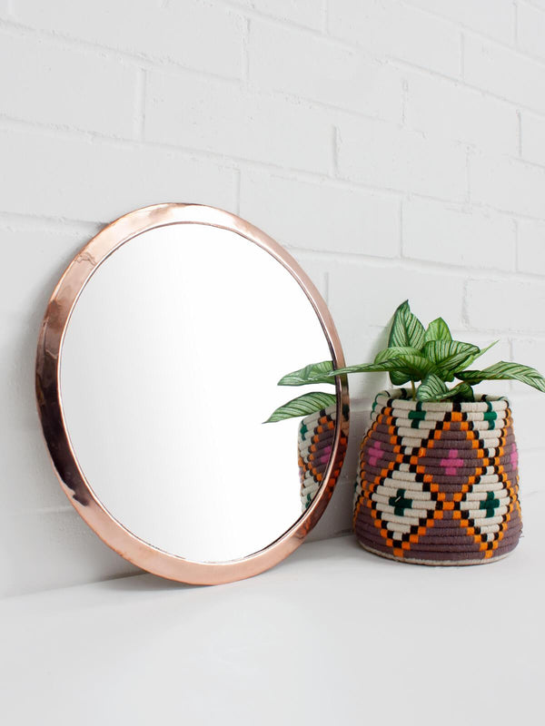 Rose Gold Circle Wall Mirror