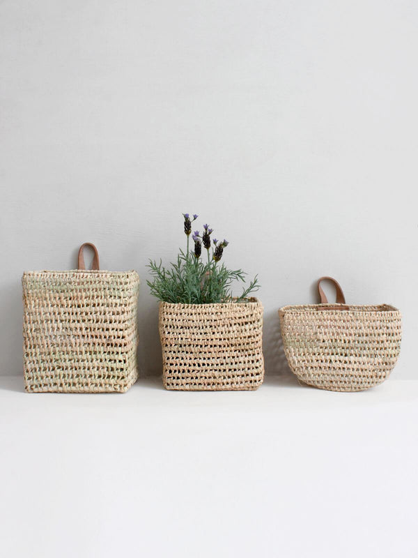 Set of 3 Handmade Palm Leaf Wall Baskets Assorted