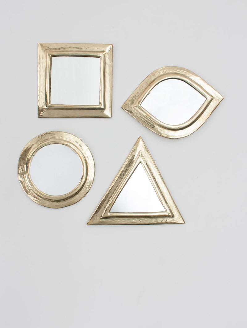 Set of 4 Brass Moroccan Wall Mirrors