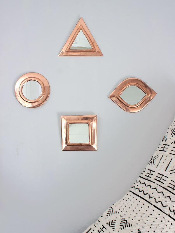 Set of 4 Rose Gold Moroccan Wall Mirrors