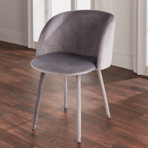 Mid-Century All Velvet Chair Grey
