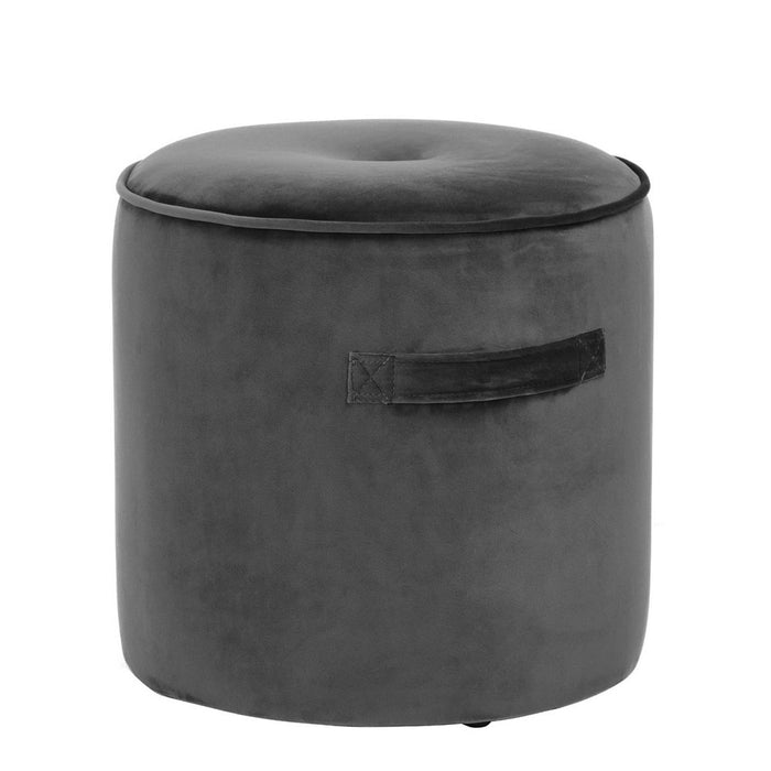 Velvet Footstool Charcoal