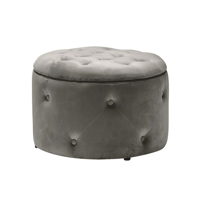 Buttoned Velvet Storage Pouffe Charcoal