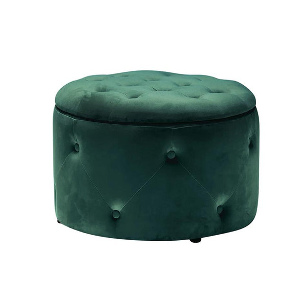 Buttoned Velvet Storage Pouffe Teal