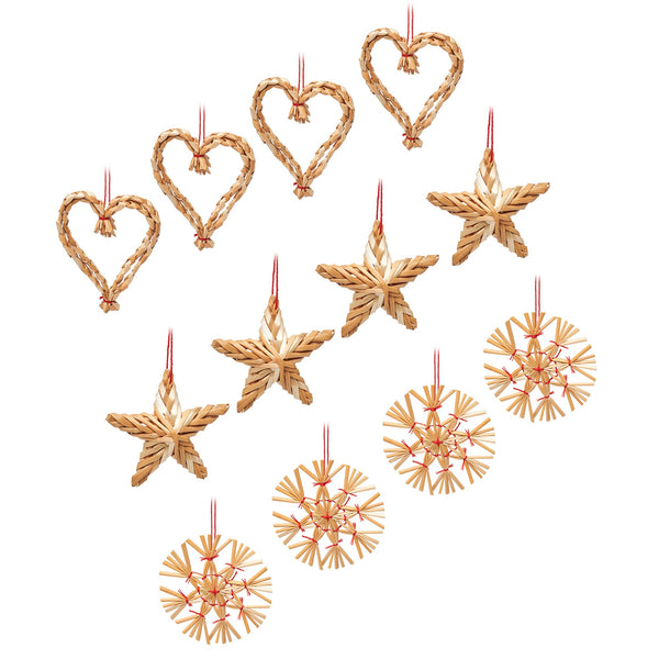 Set of 12 Straw Woven Decorations