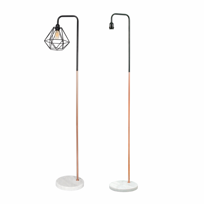 Marble Pipe Floor Lamp Copper