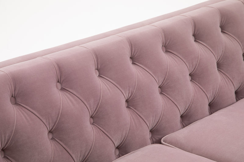 Chesterfield Blush Velvet 3 Seater Sofa