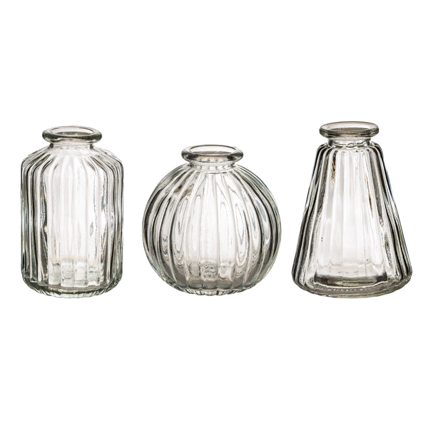 Set of 3 Clear Glass Vases