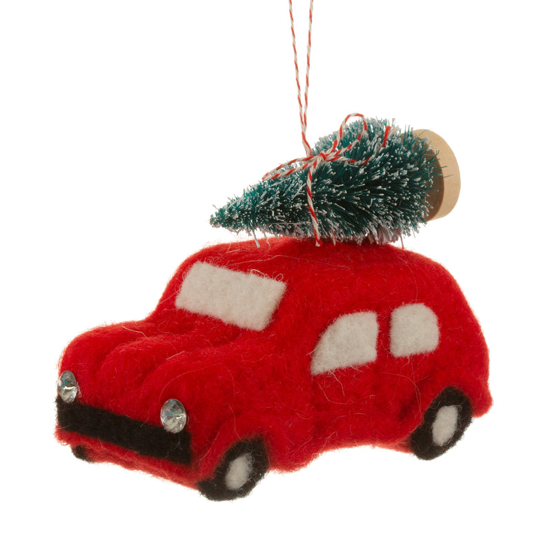 Felt Driving Home for Christmas Bauble