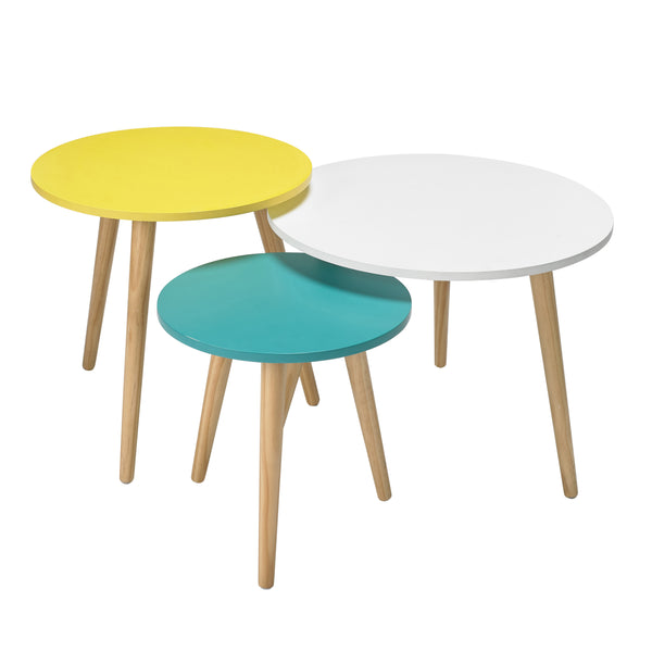 Set of 3 Scandi Pastel Side Tables